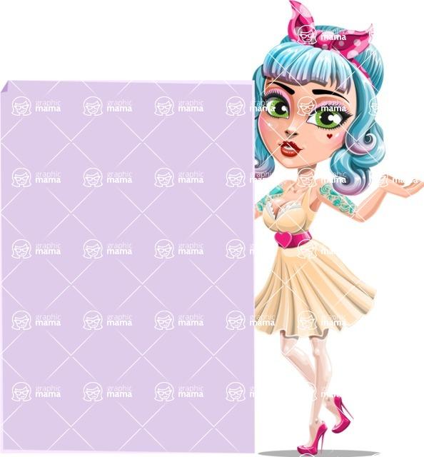 Pin Up Girl Cartoon Vector Character AKA Minty Curl - Sign 8