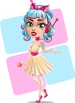 Pin Up Girl Cartoon Vector Character AKA Minty Curl - Shape 7