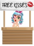 Pin Up Girl Cartoon Vector Character AKA Minty Curl - Kisses 1
