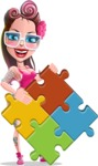 Tattoed Girl Cartoon Vector Character AKA Cindy - Puzzle