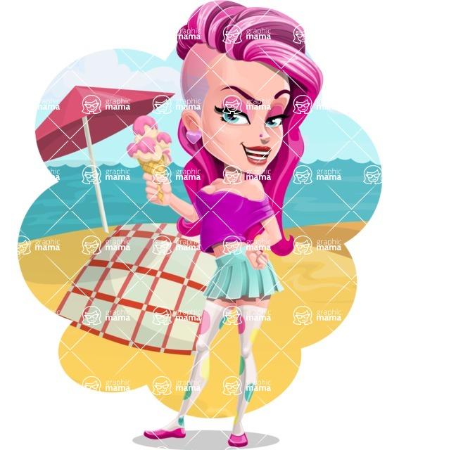 Teenage Girl Cartoon Vector Character AKA Magenta - Shape 9