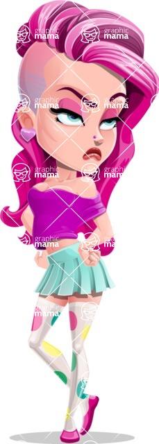 Teenage Girl Cartoon Vector Character AKA Magenta - Roll Eyes