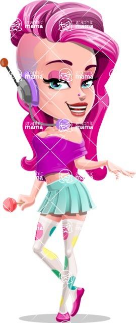 Teenage Girl Cartoon Vector Character AKA Magenta - Support 1