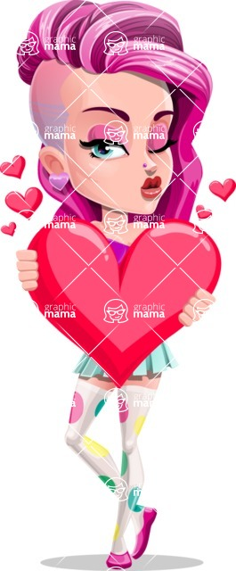 Teenage Girl Cartoon Vector Character AKA Magenta - Love
