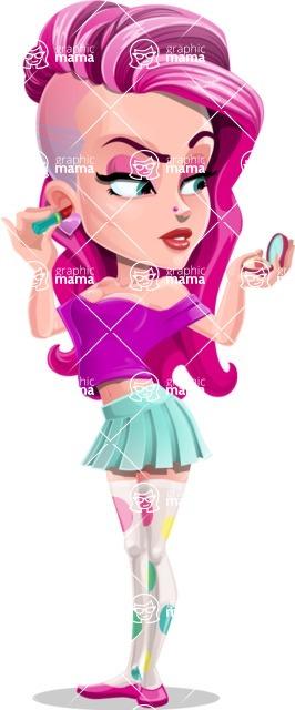 Teenage Girl Cartoon Vector Character AKA Magenta - Makeup 1
