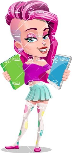 Teenage Girl Cartoon Vector Character AKA Magenta - Book or Tablet