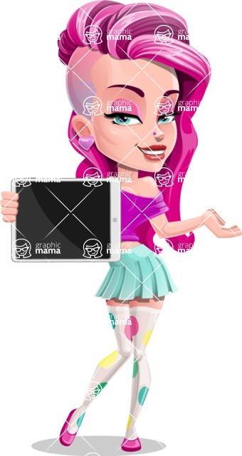 Teenage Girl Cartoon Vector Character AKA Magenta - Tablet 1