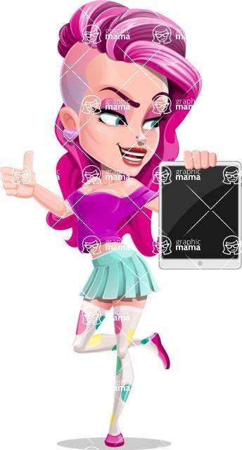 Teenage Girl Cartoon Vector Character AKA Magenta - Tablet 2