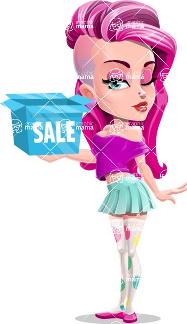 Teenage Girl Cartoon Vector Character AKA Magenta - Sale 3
