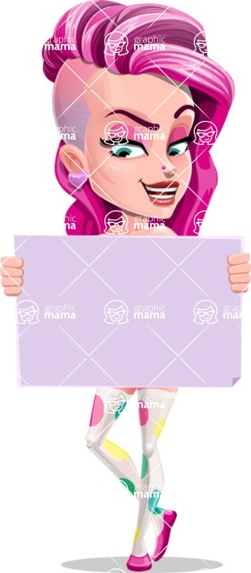 Teenage Girl Cartoon Vector Character AKA Magenta - Sign 4