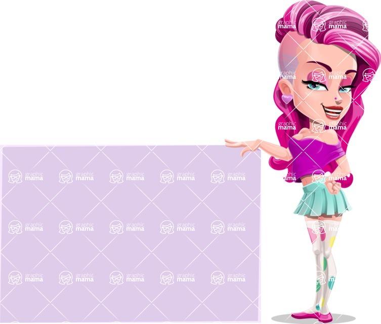 Teenage Girl Cartoon Vector Character AKA Magenta - Sign 9