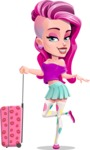 Teenage Girl Cartoon Vector Character AKA Magenta - Suitcase