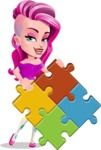 Teenage Girl Cartoon Vector Character AKA Magenta - Puzzle