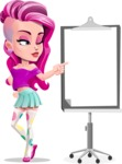 Teenage Girl Cartoon Vector Character AKA Magenta - Presentation 2