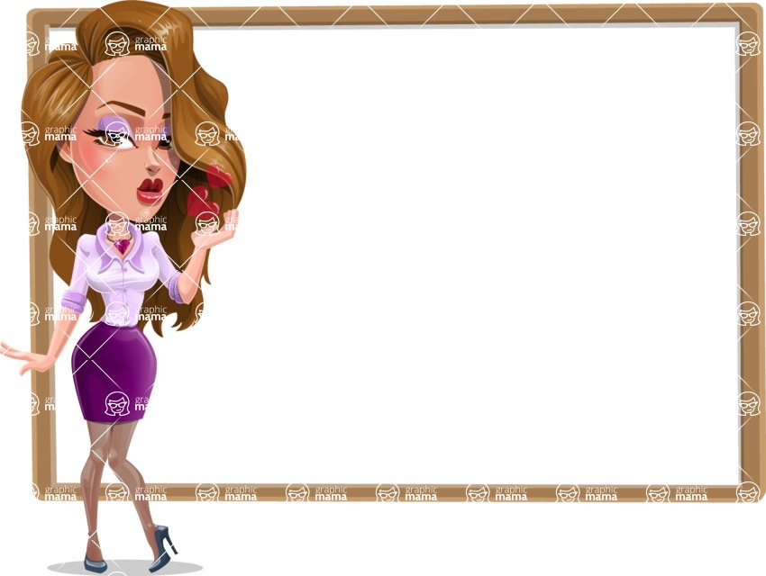 Pretty Girl with Long Hair Cartoon Vector Character - Presentation 4