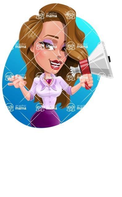 Pretty Girl with Long Hair Cartoon Vector Character - Shape 4