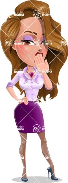 Pretty Girl with Long Hair Cartoon Vector Character AKA Pearl - Bored 1