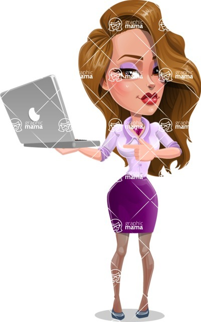 Pretty Girl with Long Hair Cartoon Vector Character - Laptop 1