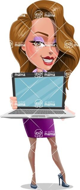Pretty Girl with Long Hair Cartoon Vector Character - Laptop 2