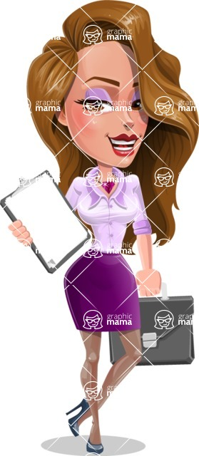 Pretty Girl with Long Hair Cartoon Vector Character - Note and briefcase
