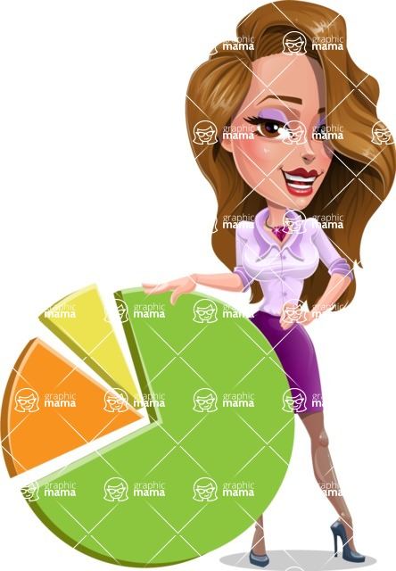 Pretty Girl with Long Hair Cartoon Vector Character - Chart