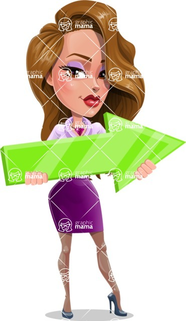 Pretty Girl with Long Hair Cartoon Vector Character AKA Pearl - Arrow 2