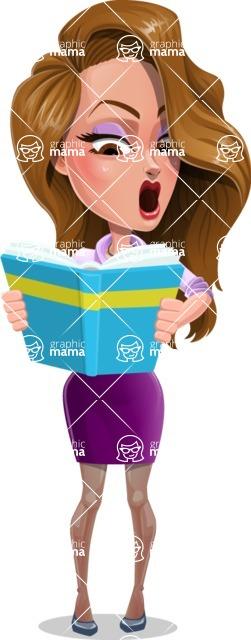 Pretty Girl with Long Hair Cartoon Vector Character - Book 2