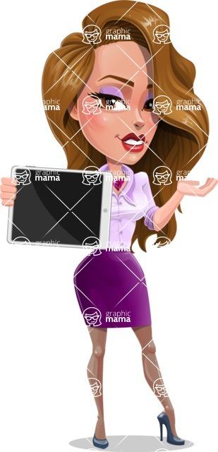 Pretty Girl with Long Hair Cartoon Vector Character - Tablet 1