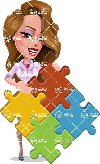 Pretty Girl with Long Hair Cartoon Vector Character AKA Pearl - Puzzle