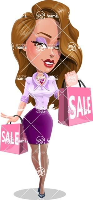Pretty Girl with Long Hair Cartoon Vector Character - Sale 1