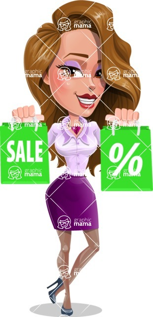 Pretty Girl with Long Hair Cartoon Vector Character - Sale 2