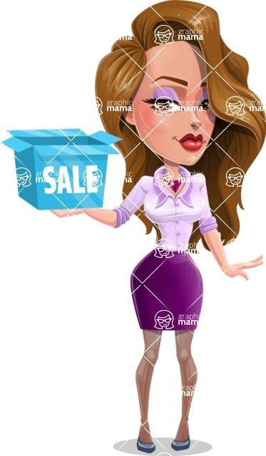 Pretty Girl with Long Hair Cartoon Vector Character - Sale 3