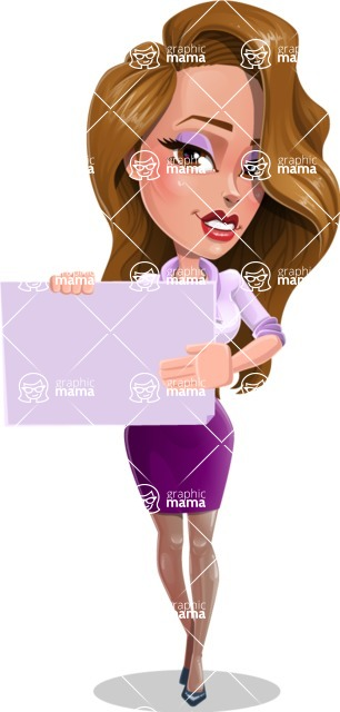 Pretty Girl with Long Hair Cartoon Vector Character - Sign 3