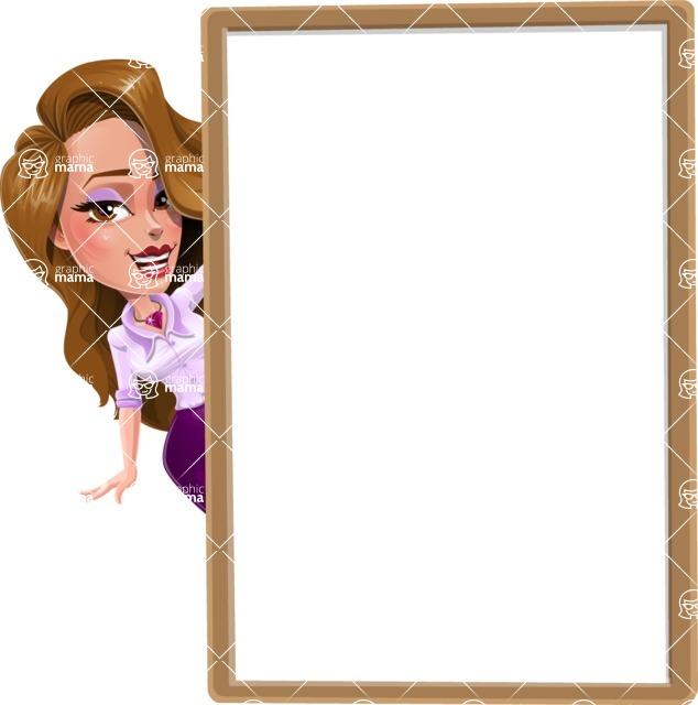 Pretty Girl with Long Hair Cartoon Vector Character - Presentation 3