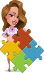 Pretty Girl with Long Hair Cartoon Vector Character - Puzzle