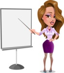 Pretty Girl with Long Hair Cartoon Vector Character - Presentation 1