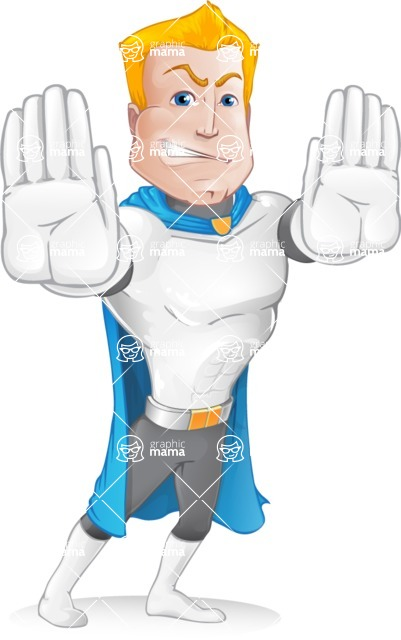 Muscle Superhero Cartoon Vector Character AKA Mister Tornado - Stop 1