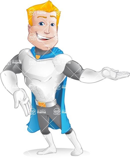 Muscle Superhero Cartoon Vector Character AKA Mister Tornado - Show 2