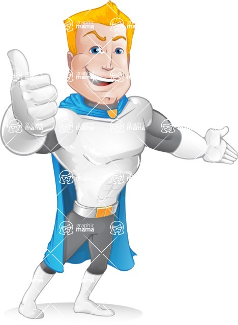 Muscle Superhero Cartoon Vector Character AKA Mister Tornado - Lost