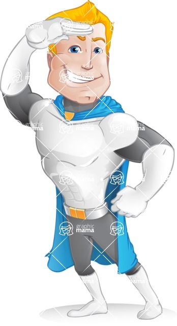Muscle Superhero Cartoon Vector Character AKA Mister Tornado - Salute