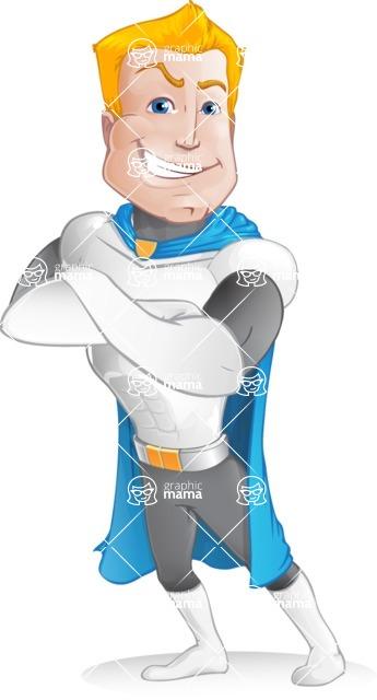 Muscle Superhero Cartoon Vector Character AKA Mister Tornado - Confident 2