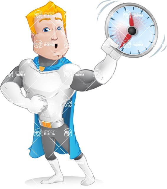 Muscle Superhero Cartoon Vector Character AKA Mister Tornado - Time is Yours