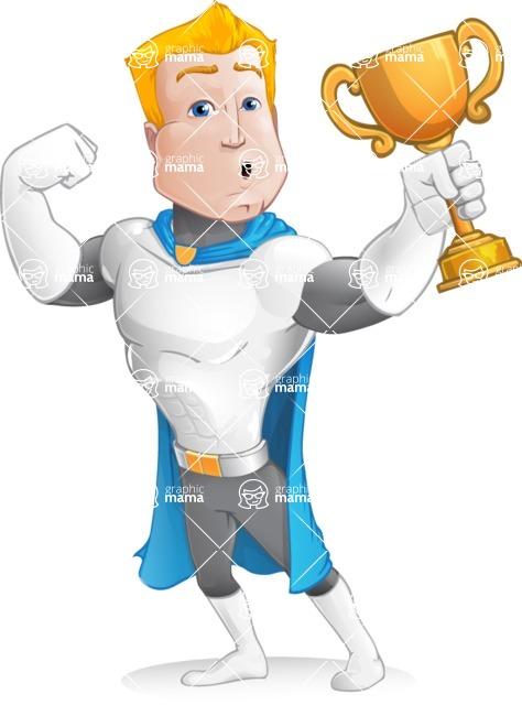 Muscle Superhero Cartoon Vector Character AKA Mister Tornado - Apple