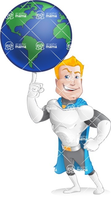 Muscle Superhero Cartoon Vector Character AKA Mister Tornado - Earth