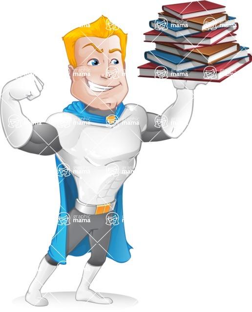 Muscle Superhero Cartoon Vector Character AKA Mister Tornado - Books 3