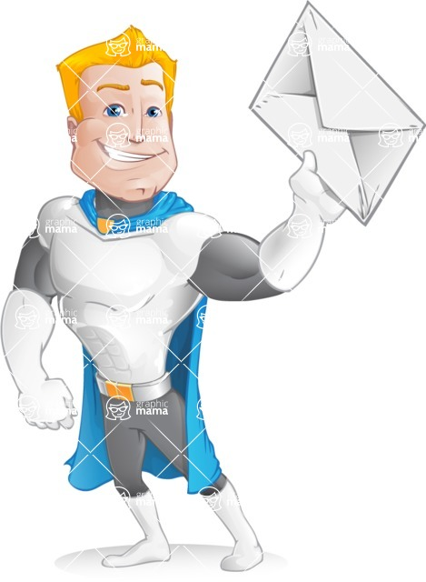 Muscle Superhero Cartoon Vector Character AKA Mister Tornado - Letter 2