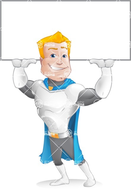 Muscle Superhero Cartoon Vector Character AKA Mister Tornado - Shopping