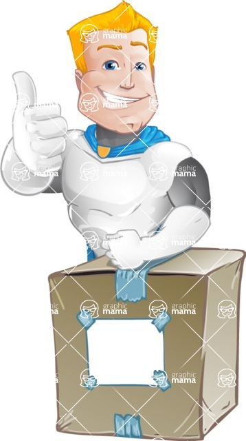 Muscle Superhero Cartoon Vector Character AKA Mister Tornado - Delivery