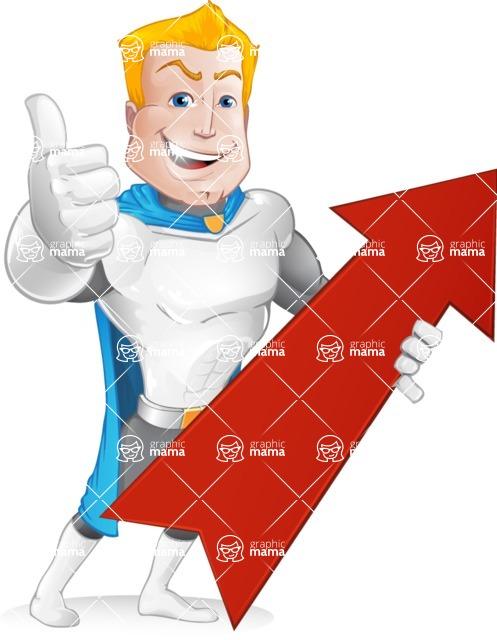 Muscle Superhero Cartoon Vector Character AKA Mister Tornado - Arrow 1