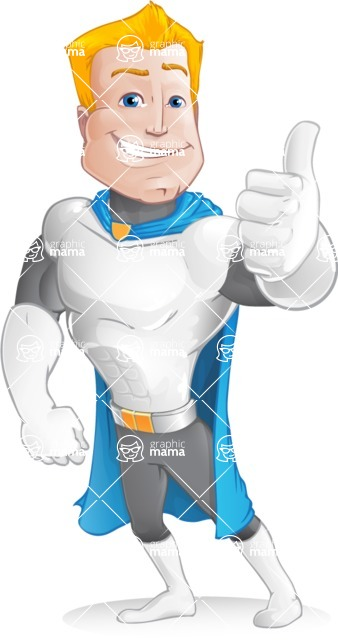 Muscle Superhero Cartoon Vector Character AKA Mister Tornado - Thumbs Up